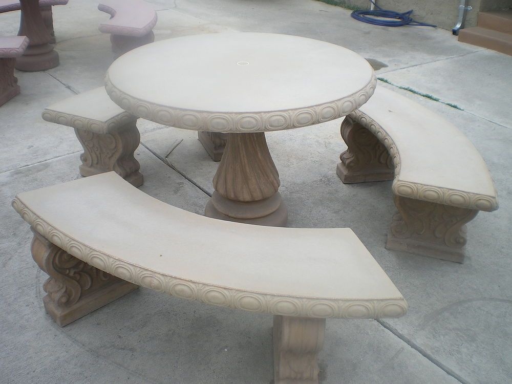 concrete cement tan colored round patio picnic table with three