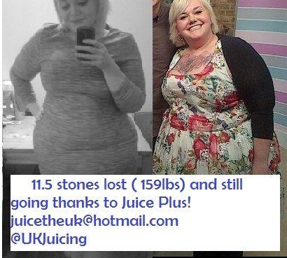 11.5 stones ( 159lbs) lost Juice Plus! @UKJuicing