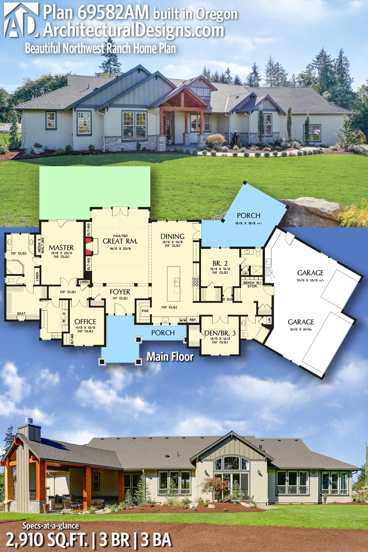 Architecture · Architectural Designs House Plan 69582AM ...