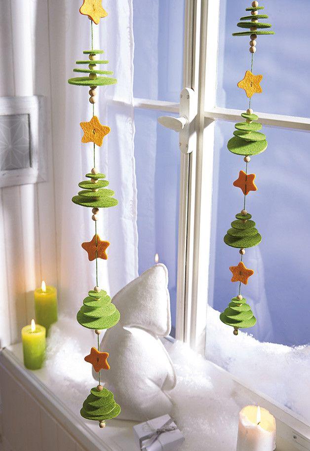 Photo of **Weihnachtsbäumchen zum Auffädeln** Die Filzscheiben, Holzp…
