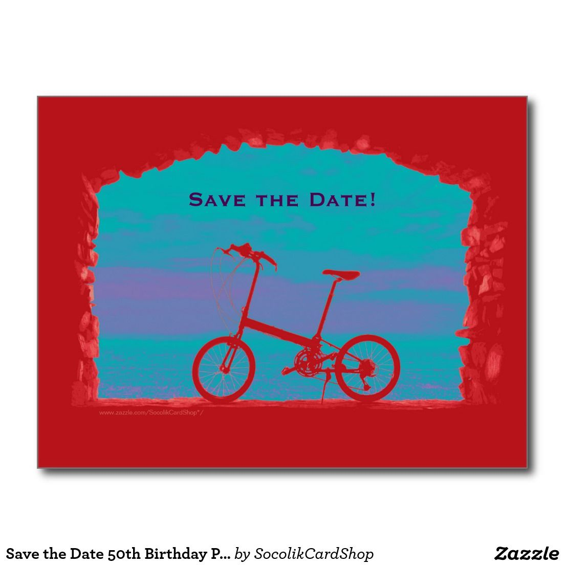 Save The Date 50th Birthday Party Postcard Bicycle Photographs