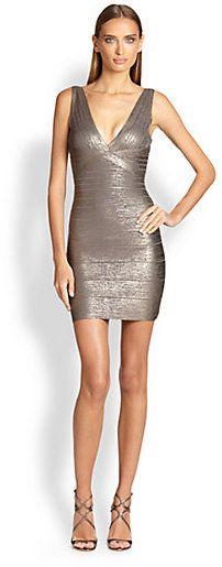 Herve Leger Foil Bodycon Dress