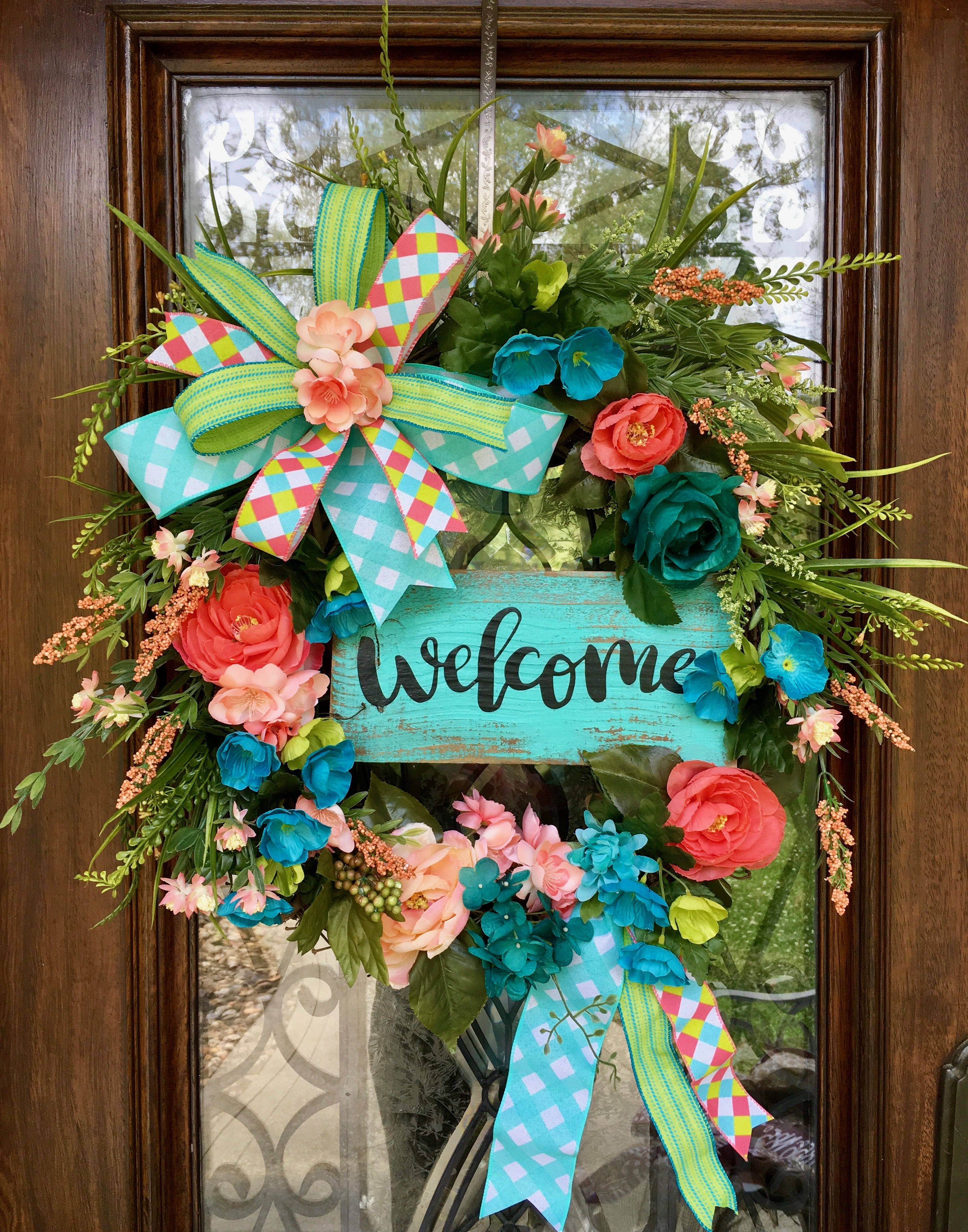 TURQUOISE AND CORAL WEL E WREATH WREATHS Pinterest