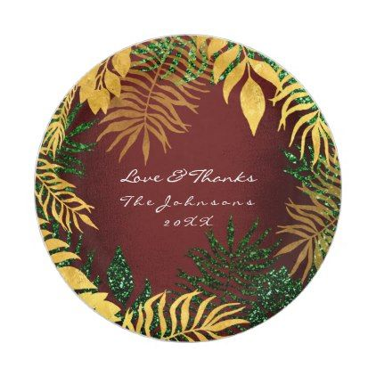 sc 1 st  Pinterest & Wreath Tropical Burgundy Maroon Gold Green Palm Paper Plate | Palm