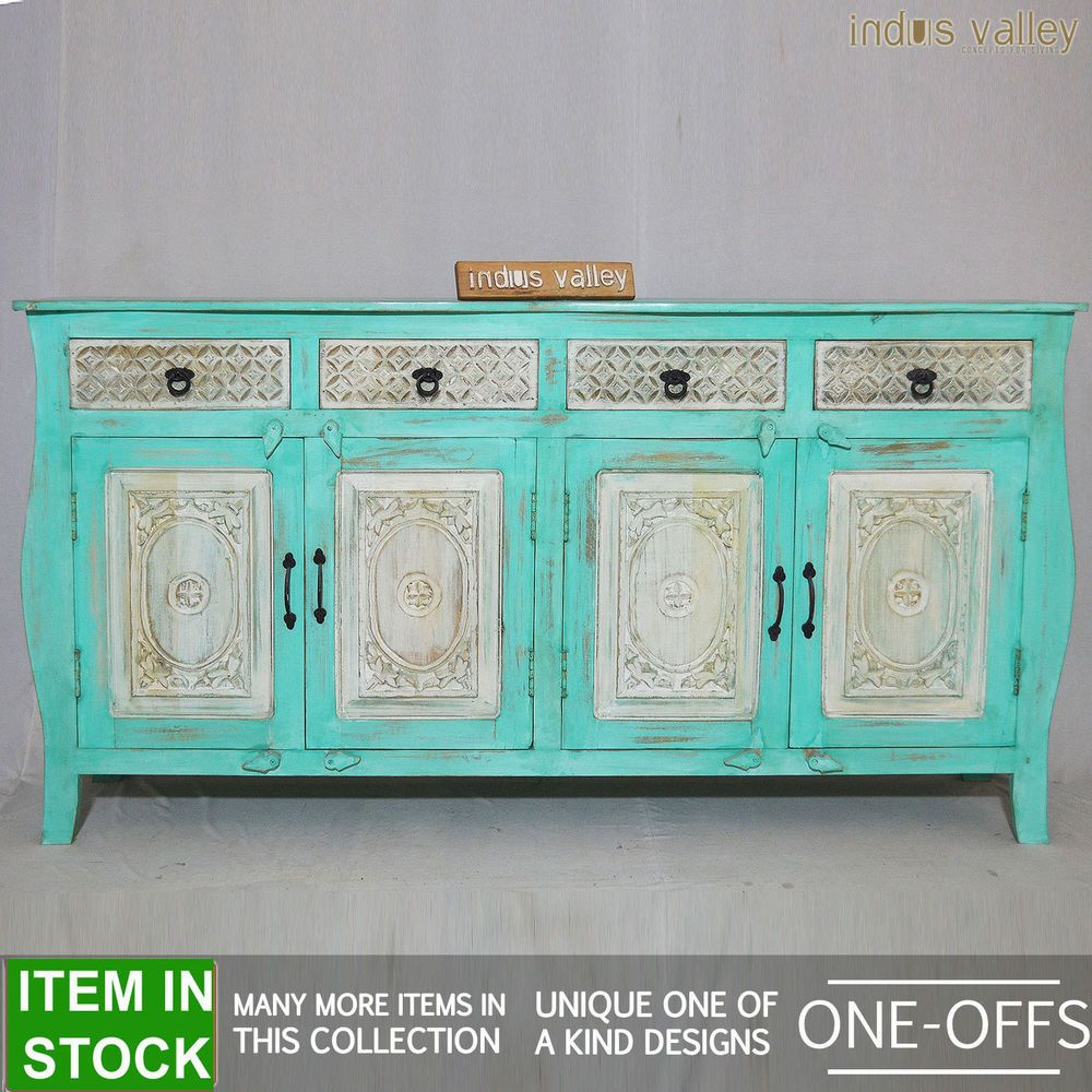 French Colonial Indian solidwood timber white large sideboard buffet ...