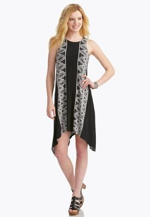 Cato Fashions Graphic Geometric Striped Sharkbite Dress ...