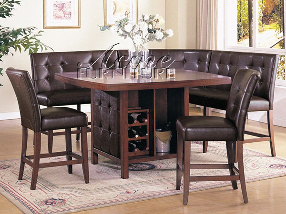 Piece Dining Room Set Counter Height Table Corner Seating & 2