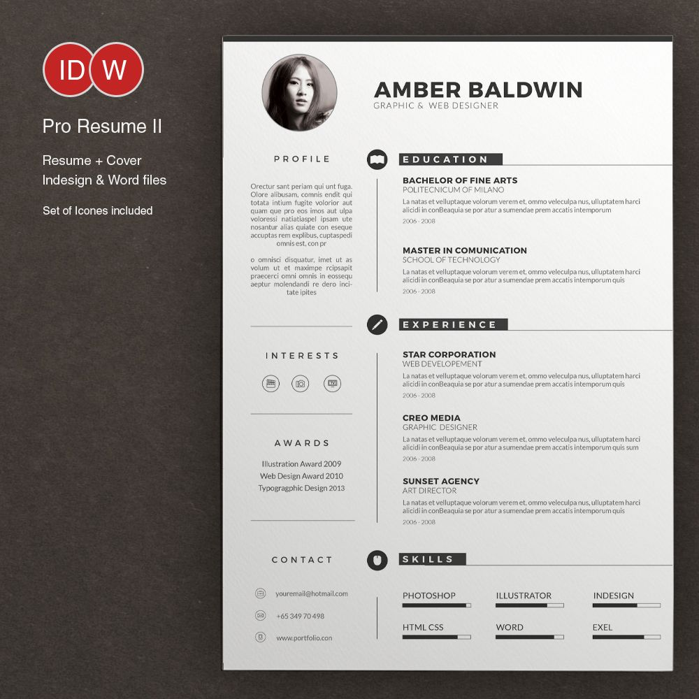 Resume by on Creative Market Resume design