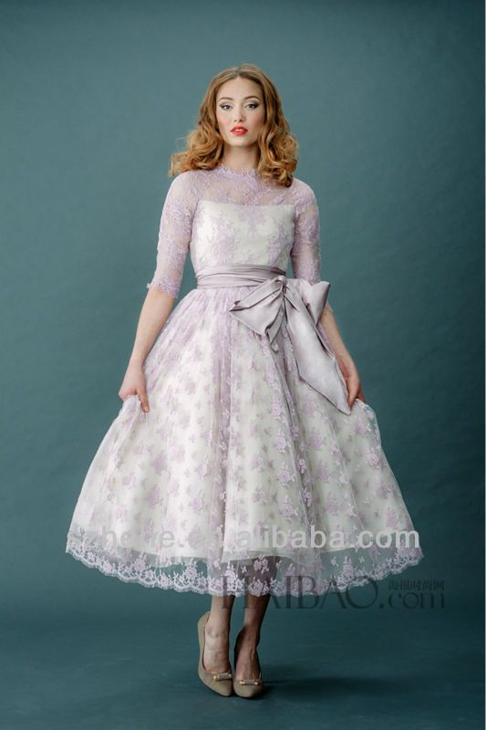 Free Shipping!!! CY759 Lovely Lilac Ball gown Lace tea length ...