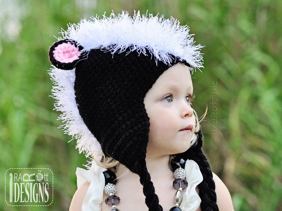 Daisy the Skunk Hat with Tail and Furry Mohawk PDF Crochet Pattern ...