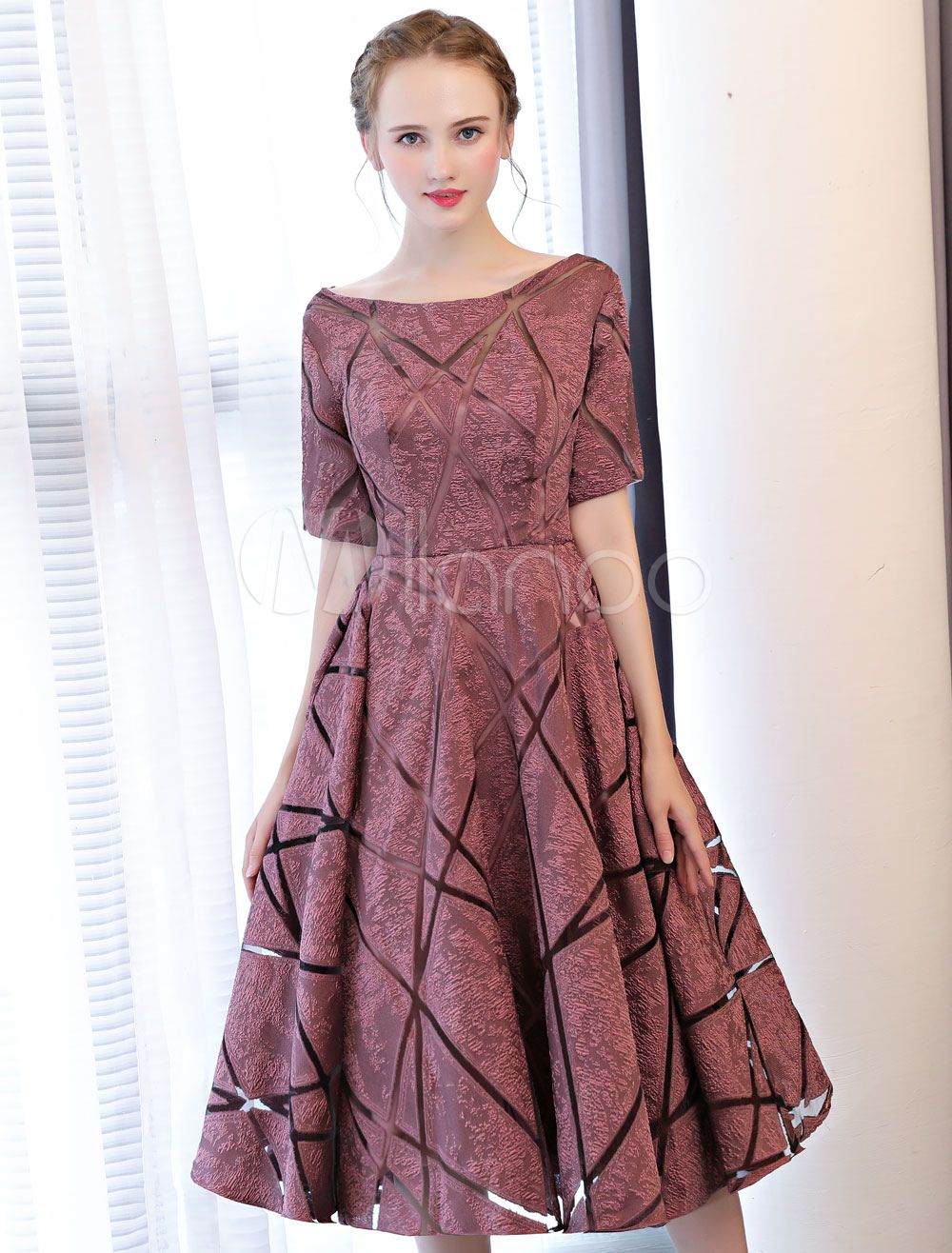 a6589ee7b28 Short Prom Dresses Cameo Pink Half Sleeve Tea Length Cocktail Party Dresses   Cameo