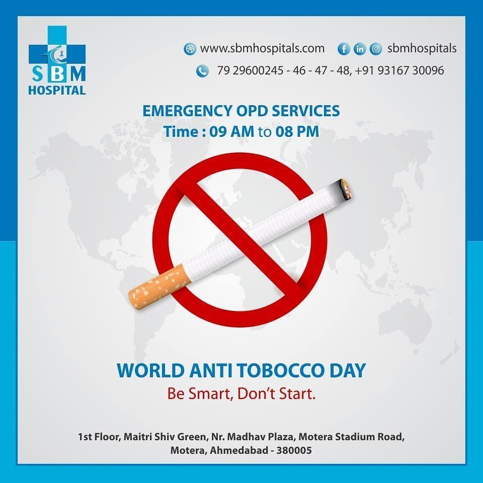 World Anti Tobacco day  #antitabaccoday #tobaccoday  #sbmhospital #goodhealth #health #wellness #fit...