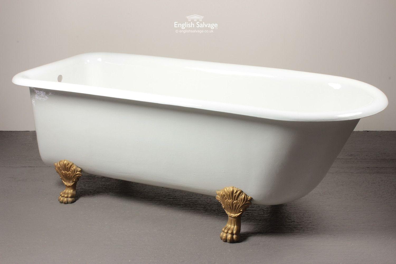White Roll Top Bath with Decorative Gilt Feet | Bath Bits ...
