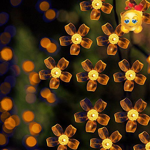 solar led string lights 100 led warm white flower 39 1ft 9 hours illumination waterproof outdoor solar fairy lights christmas lights ambiance lights