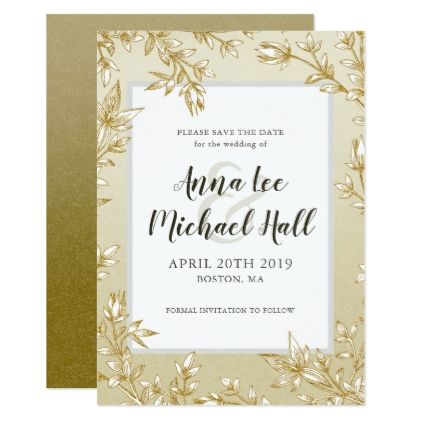 elegant gold leaves custom wedding save the date wedding