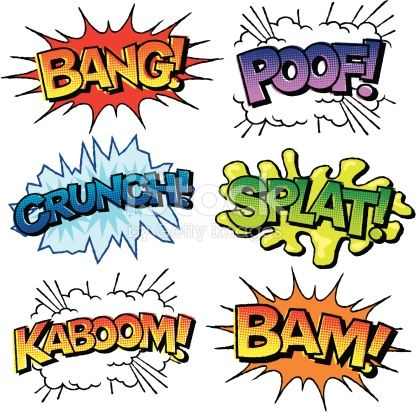Various sound effects written in a vintage comic-book style