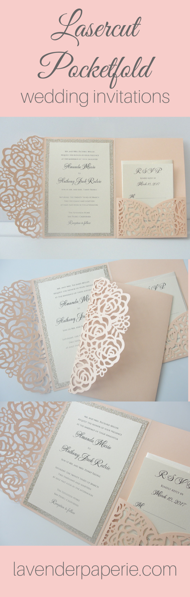 Laser Cut Pocketfold Wedding Invitations The Wedding Pros The