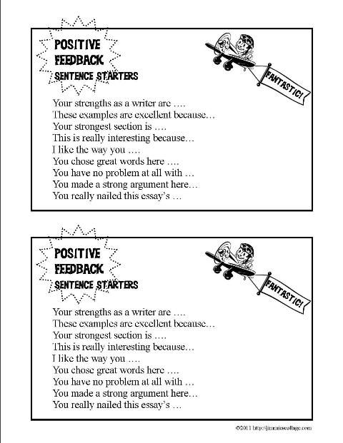 Positive Feedback Sentence Starters Thumbnail  Teaching