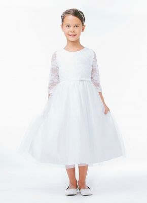 Girls Dress Style 643 - WHITE Three-Quarter Sleeve Lace Dress