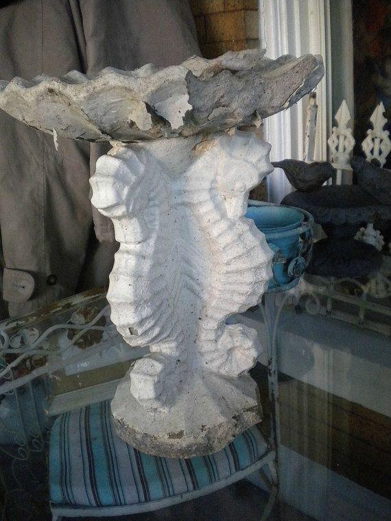 Vintage Concrete Seahorse Birdbath Tabletop Statue Antique Garden Bird Bath Seahorse Concrete