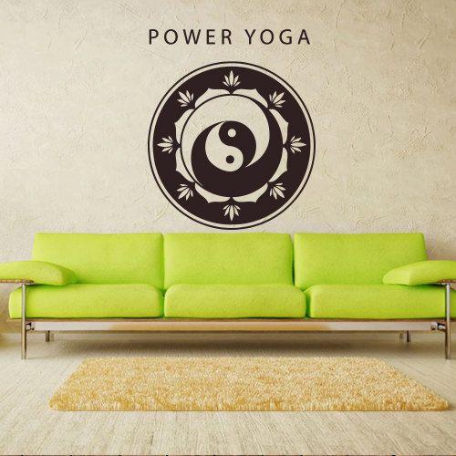 Wall decal art decor decals sticker buddhism india indian circle buddha power yoga inscription yin yang