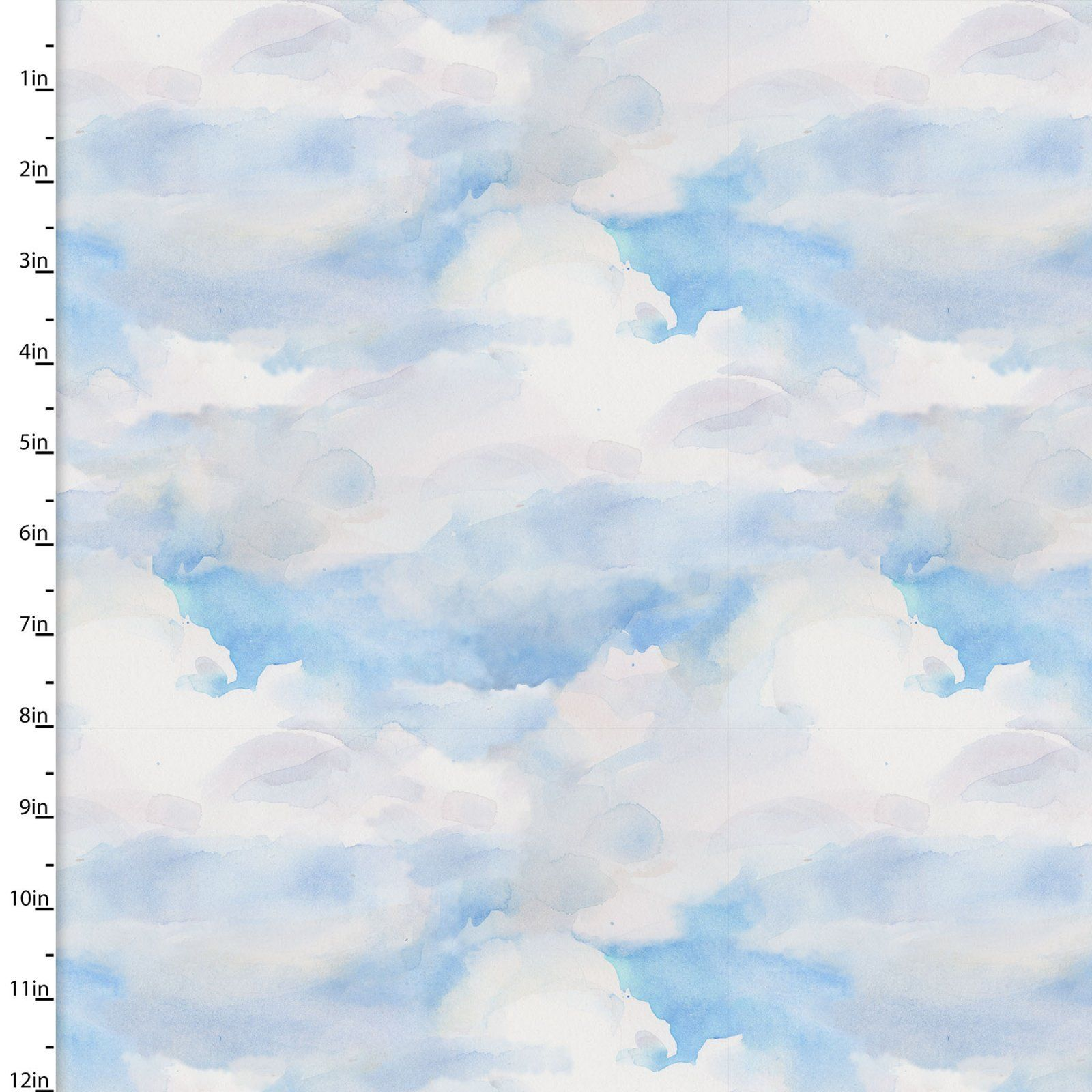 Clouds Quilting Fabric from the Sunflower Stampede Collection by John Keeling from 3 Wishes, 16599-BLU-CTN-D - fat 1/4