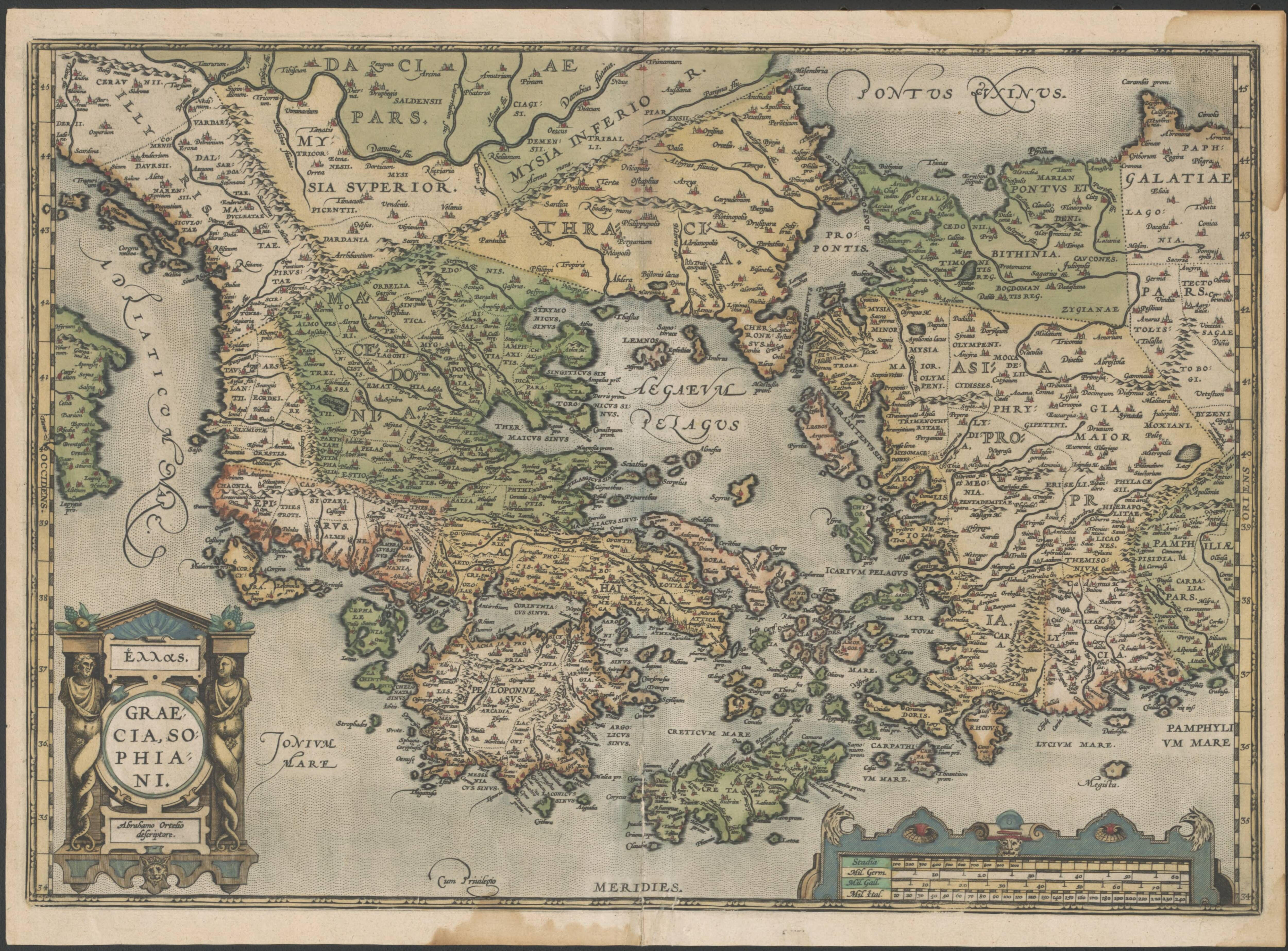 1580 Map of Greece and Turkey Old Maps