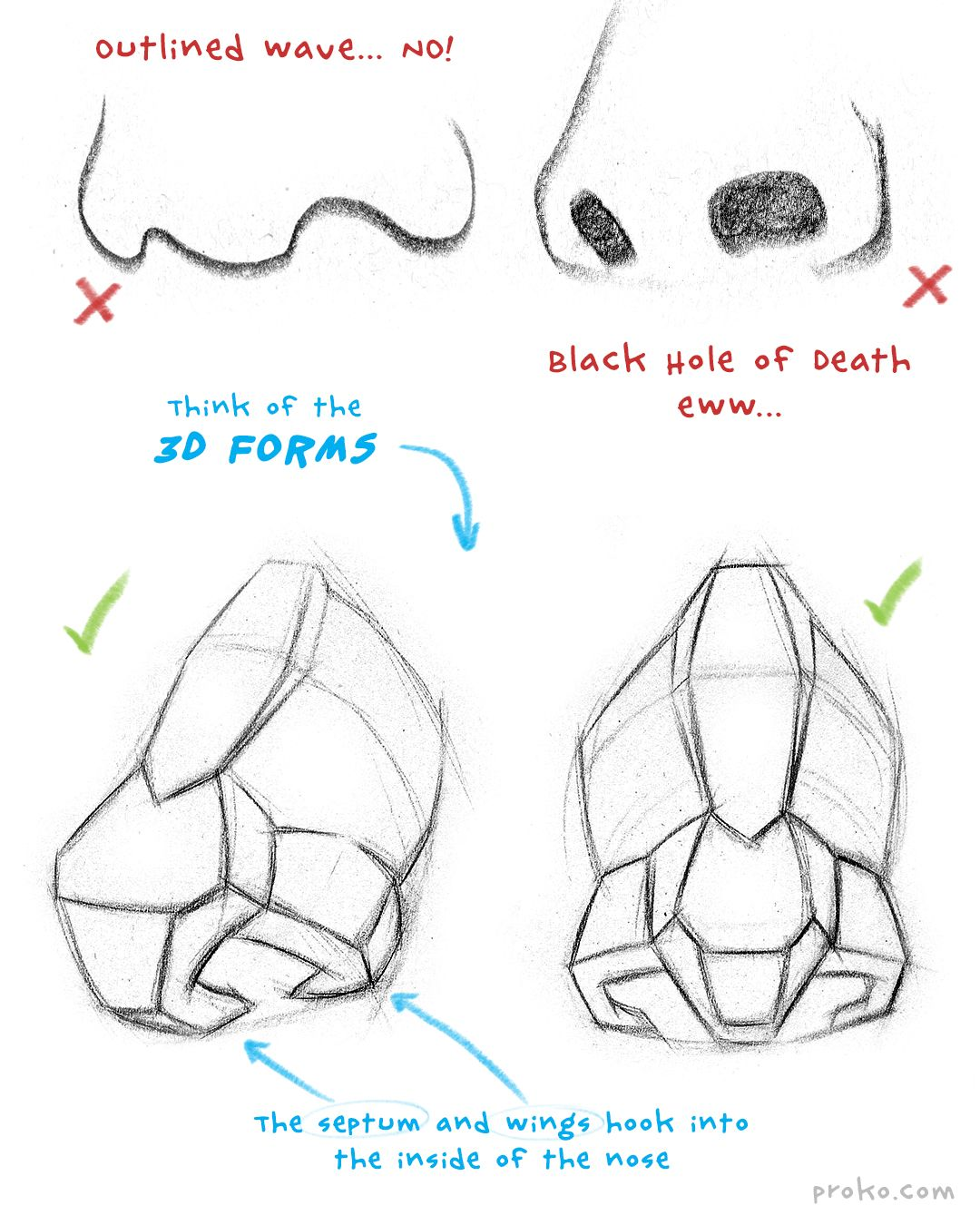 How to Draw a Nose – Anatomy and Structure Portrait Drawing