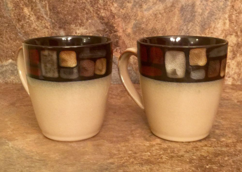 Mikasa Santa Fe Stoneware Ceramic Brown Beige Coffee Mugs Tea Cups Latte Set 2 Ebay Stoneware Ceramics Tea Cups Mugs