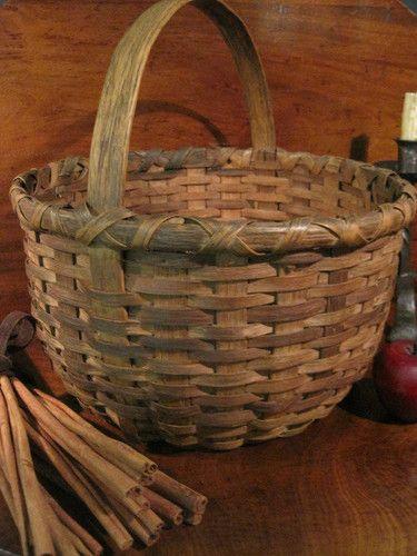 Antique 1800s New England Black Ash Woven Splint Apple Gathering Basket