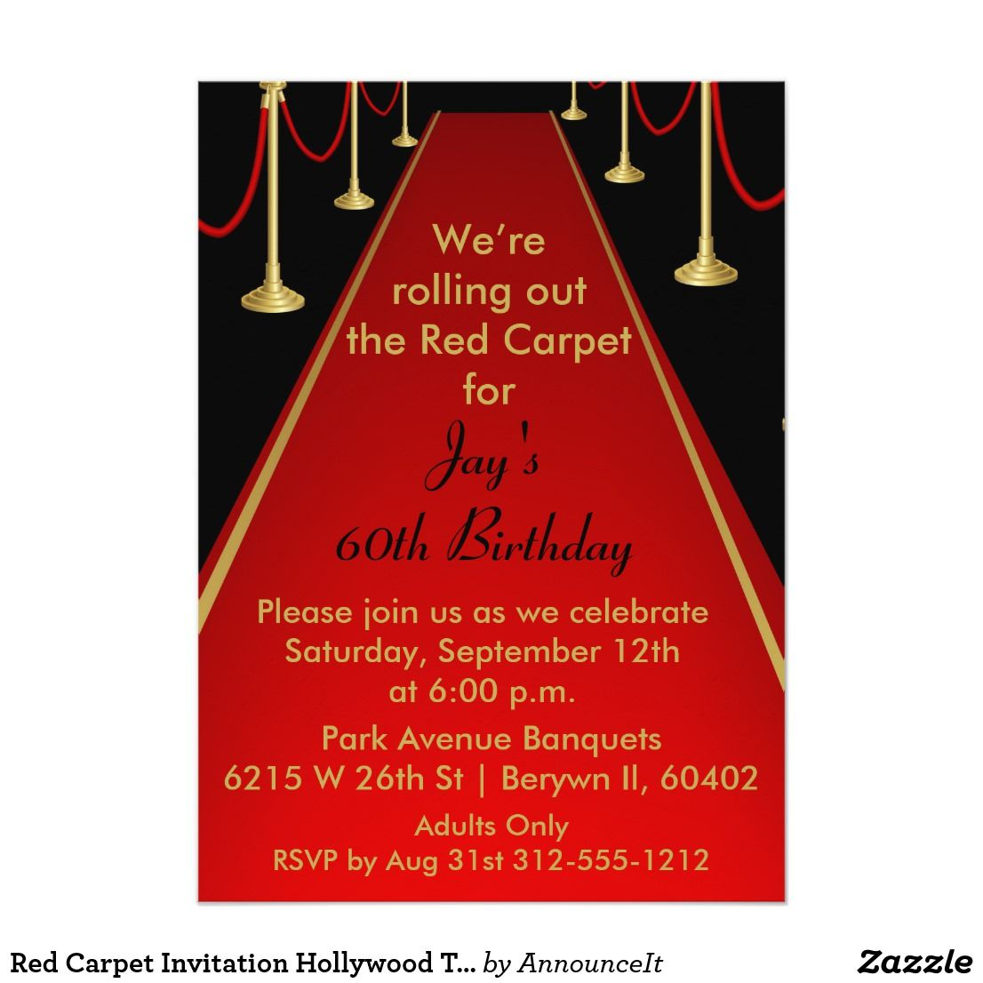 Red Carpet Invitation Hollywood Theme Sweet 16 Hollywood Theme