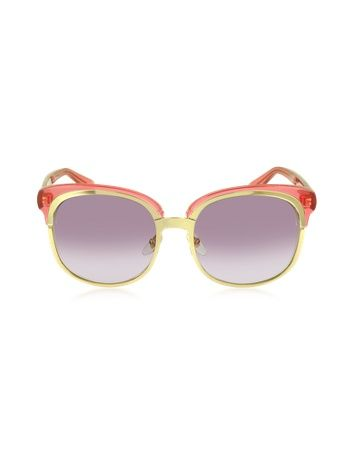 Oversize double frame sunglasses with pink light mirror shaded lenses. Featuring a gold metal frame together with a rose begonia acetate frame #gucci #coupay #coupons