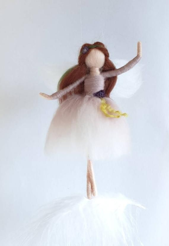 Felt fairy, needle felt fairy, ballerina gifts, wool dolls, floating fairy, fairy mobile, feather mobile, felt figurines, fairy inspired #dollsneedlefelt