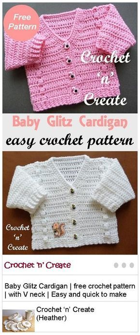 Baby Glitz Cardigan Free Crochet Pattern   Pinterest   Dinge