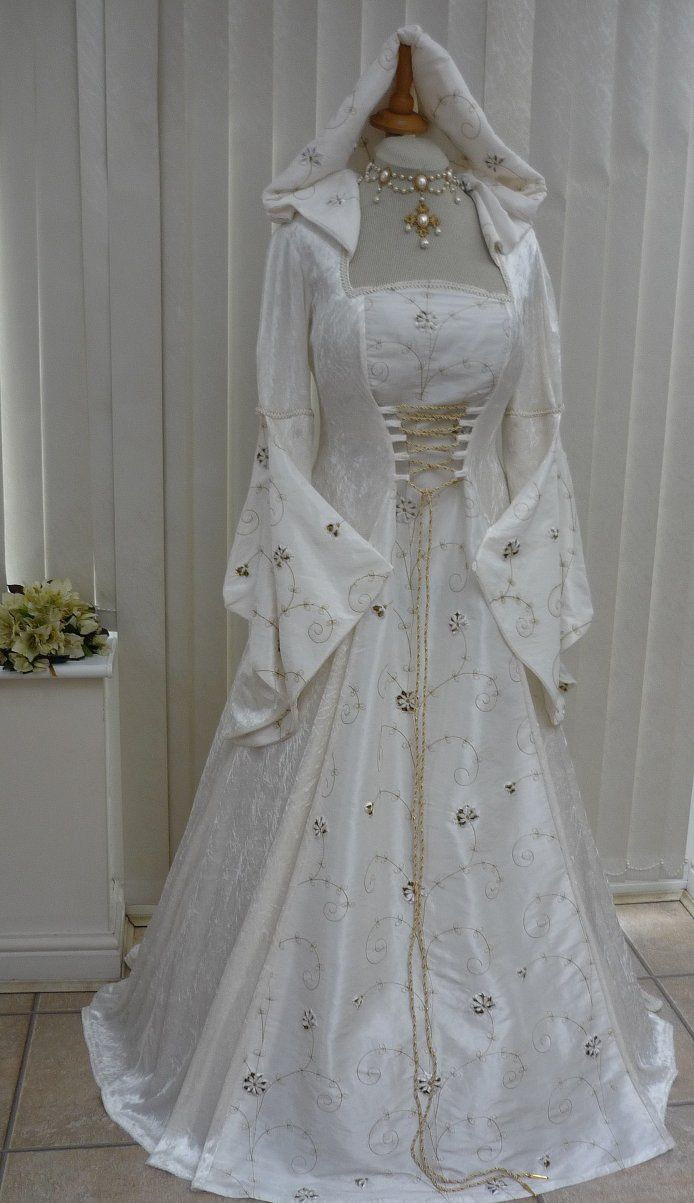 c868c210a5a72 Medieval and Renaissance Wedding Dresses | Ivory Medieval Renaissance  Hooded Wedding Dress Pagan, Dawns Medieval .