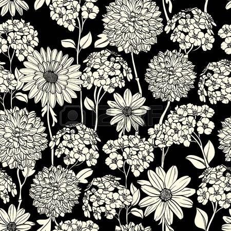 Floral seamless dessin s   la main fleurs. Noir et blanc photo