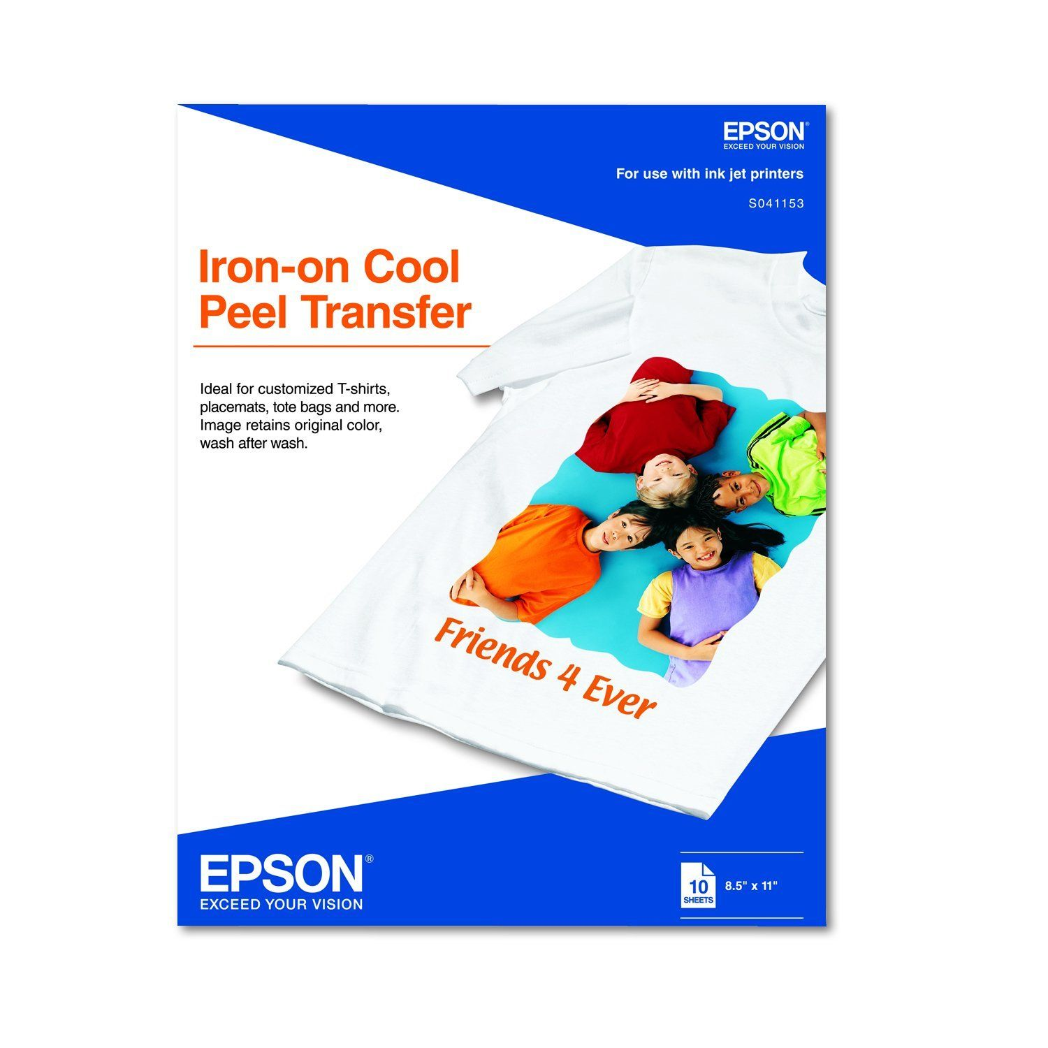 Epson ironon cool peel transfer 85x11 inches 10 sheets