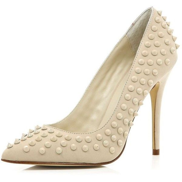 River Island Cream studded point court shoes ($99) ❤ liked on Polyvore