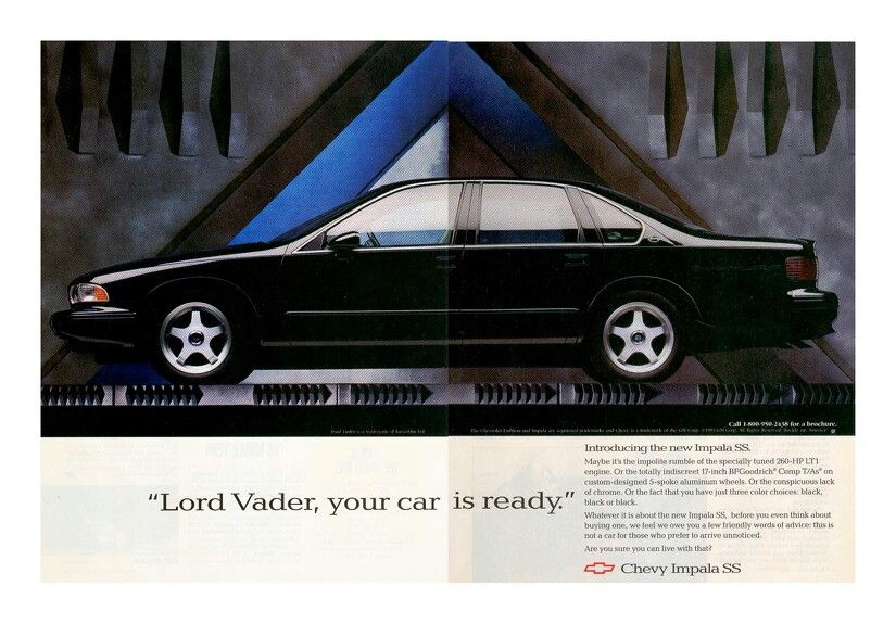 Lord Vader Your Car Is Ready Chevrolet Impala Ss