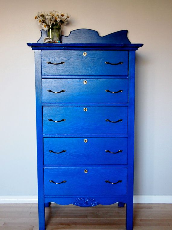 Blue Dresser With Locks And Key By Topologyfurniture On Etsy