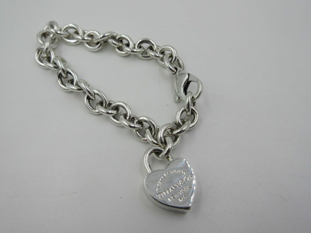 RARE Tiffany & Co Sterling Silver Return to Tiffany Heart Padlock Bracelet 7""