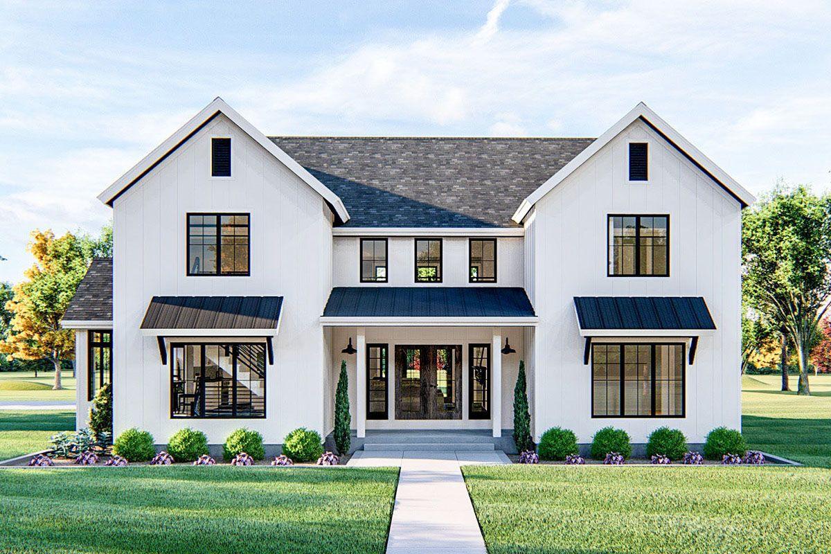 Plan 62818DJ: 4-Bed Modern Farmhouse Plan with Ups