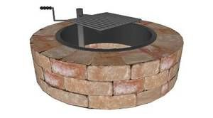 Stone Brick Outdoor Fire Pit Ring Kit with Swivel Cooking ...