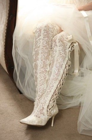Goodnight Sweetheart Ivory Over The Knee Lace Wedding Boots