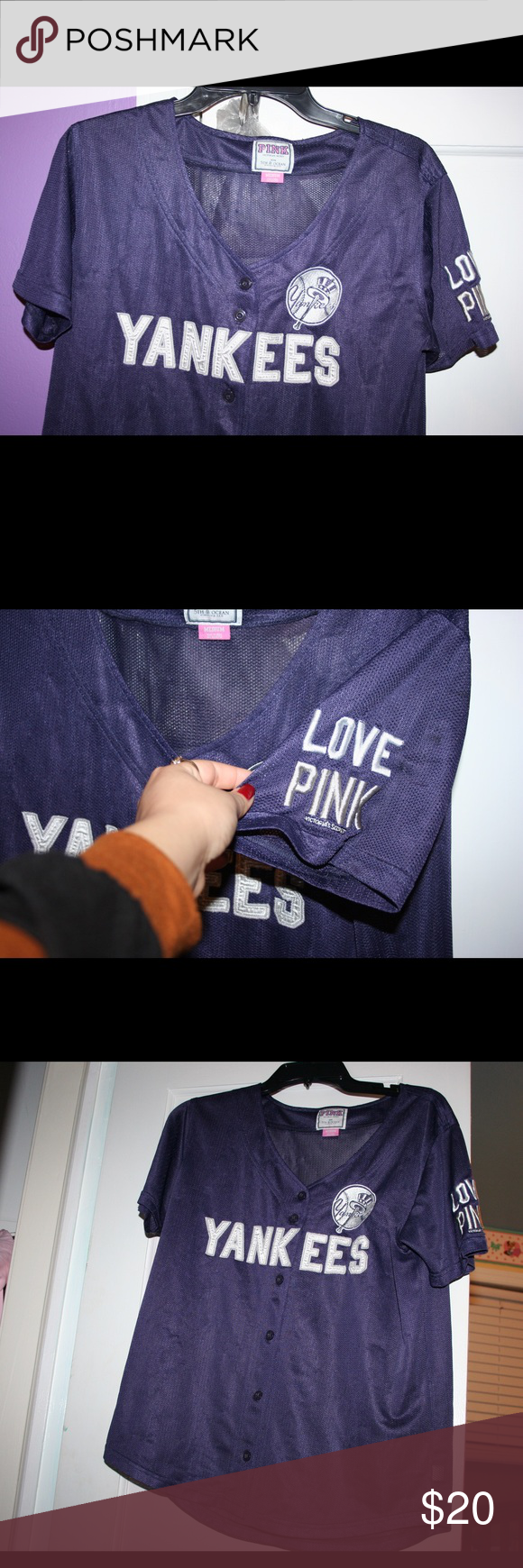 Victoria Secret PINK Yankees jersey Victoria secret PINK Yankees jersey. Supposed to be sleepwear but you can always put a tank top under and wear it as a real shirt. Tag says medium but can probably fit a large. Super cozy and cute. PINK Victoria's Secret Tops Tees - Short Sleeve