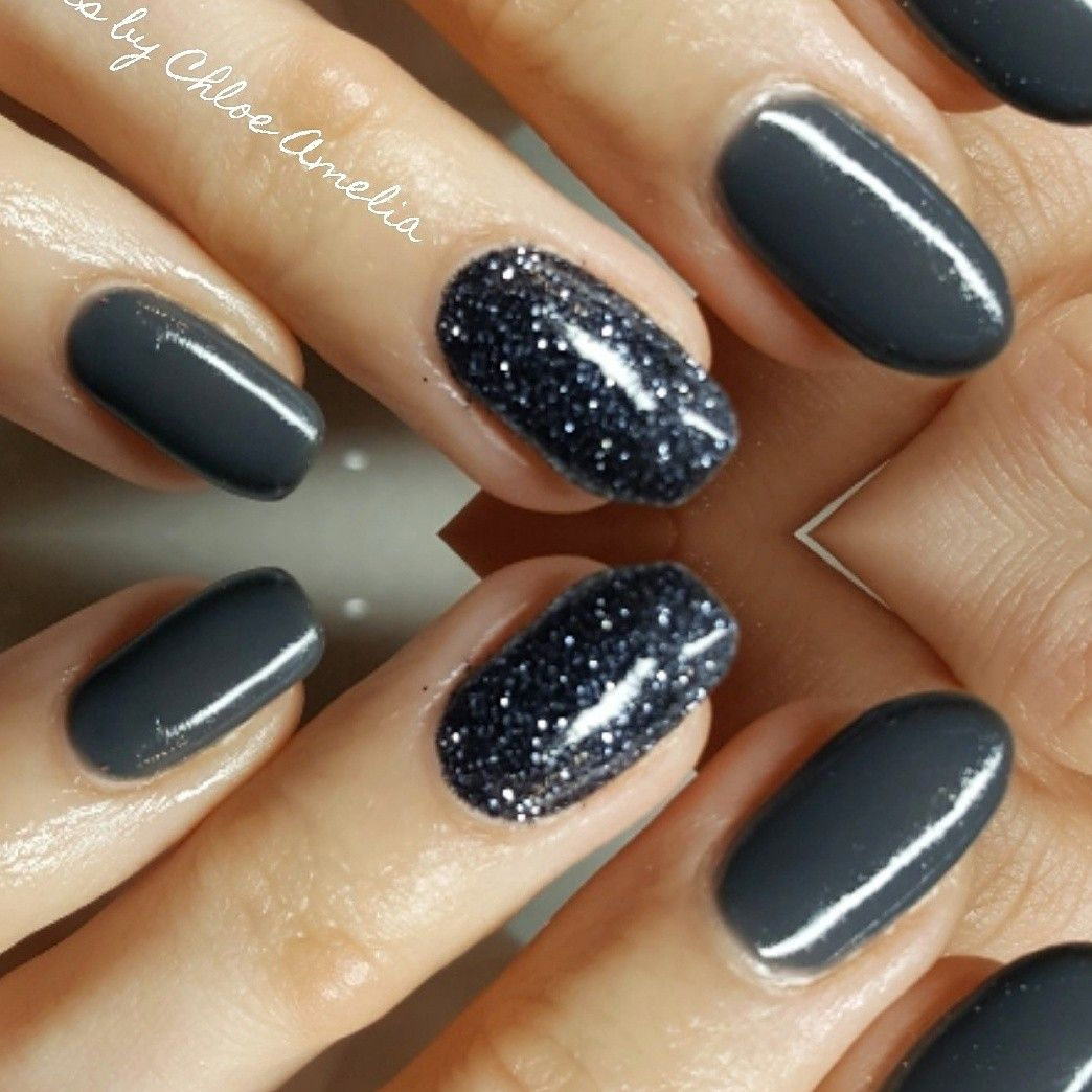 Dark grey nails with glitter accent finger | Nails by Chloe Amelia ...