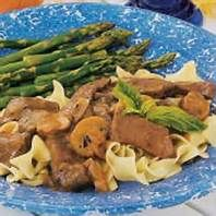 Try this delicious Simmered Sirloin with Noodles for a wonderful meal tonight!  1 1/4 lbs. beef top sirloin steak, cut into thin steaks  2 medium onions, chopped  1 garlic clove, minced  1 cup sliced mushrooms  1 Tbsp. butter  2 cups beef stock  4-1/2 tsp. Worcestershire sauce  1 tsp #sirloinsteakrecipeshealthy