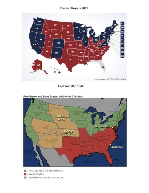 2012 Election Results & 1846 Civil War Map Free States & Slave