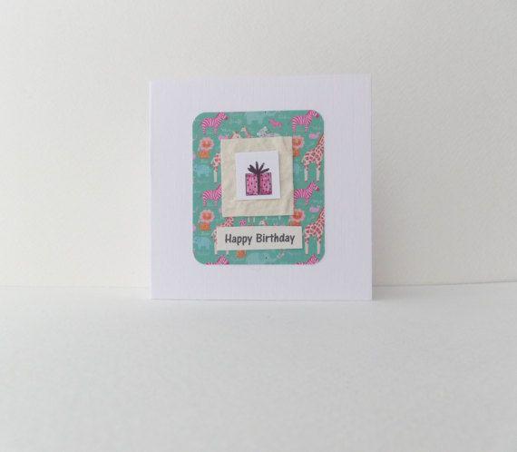 Handmade Children's Birthday Card Pink Present by NoDittoDesign