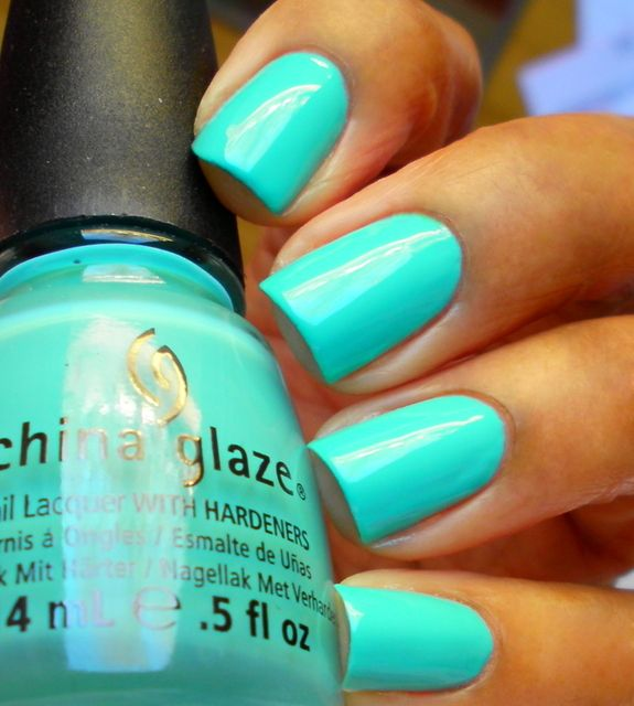 Aquadelic - bright aqua/blue creme with a hint of green. It's so vibrant and pretty that it announces Spring! It was opaque in 2 coats. Enamel Girl: China Glaze Electropop Swatches, Spring 2012